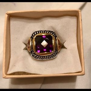 Amethyst colored statement ring
